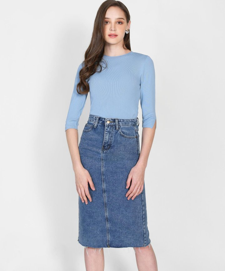 Calypso Knit Top - Powder Blue