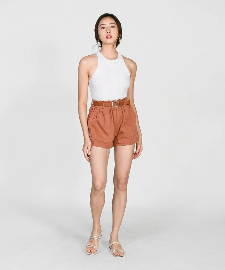 Brandis Belted Shorts - Terracotta