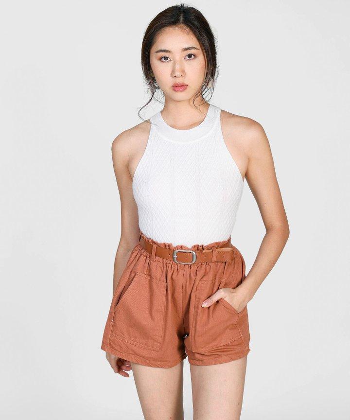 Issa Halter Knit Top - White