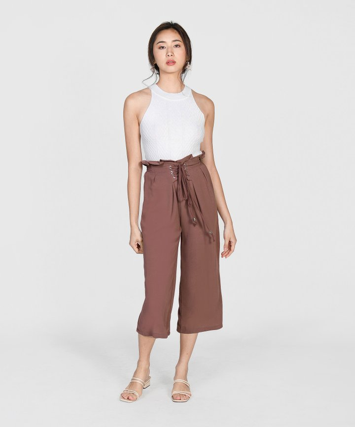 Cassidy Lace Up Culottes - Rosewood