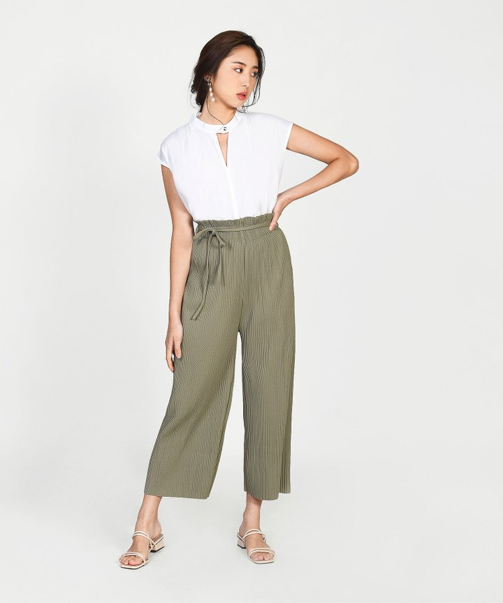 Khaite Pleated Culottes - Dust Olive