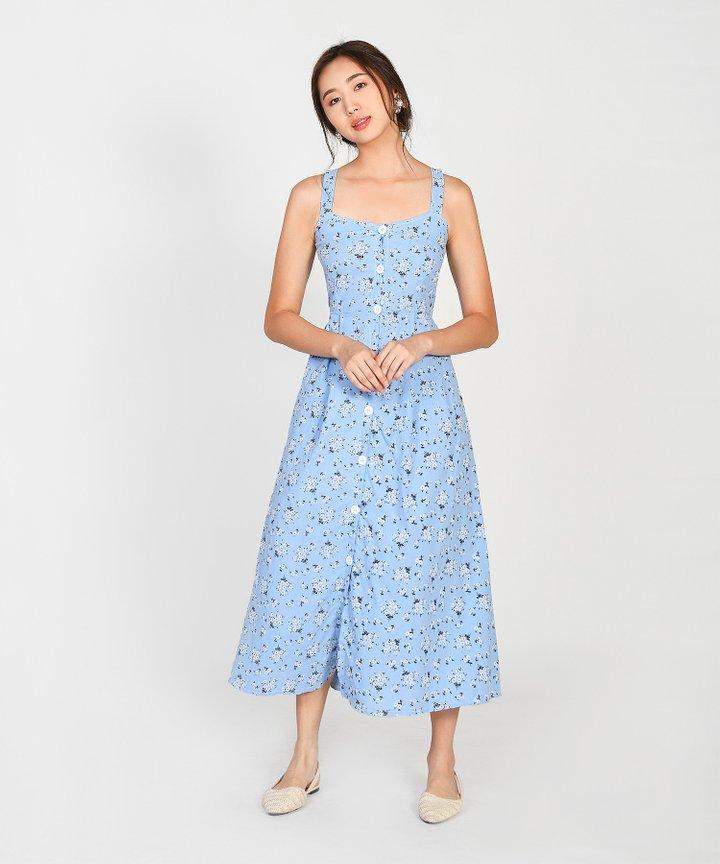 Hanneli Floral Button Down Midi - Sky Blue