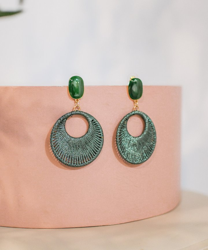 Pixie Woven Hoop Earrings - Green