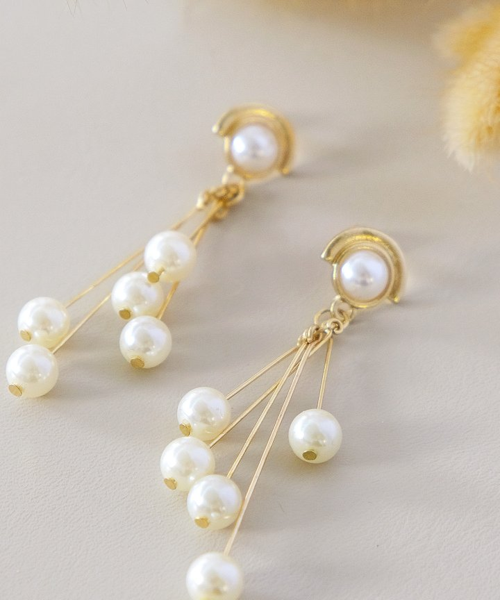 Prue Pearl Cluster Drop Earrings