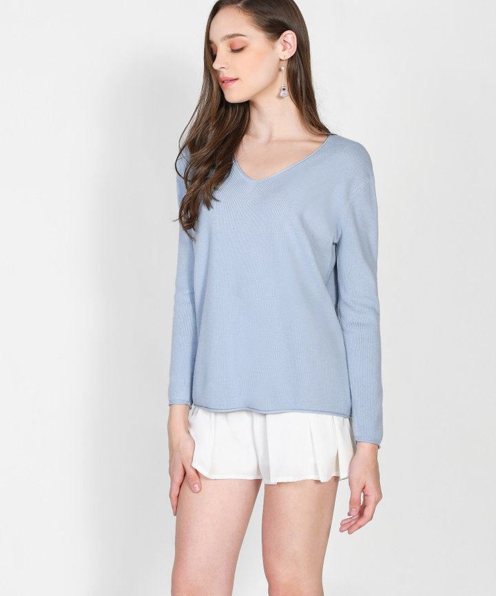 Caprice Knit Sweater - Powder Blue