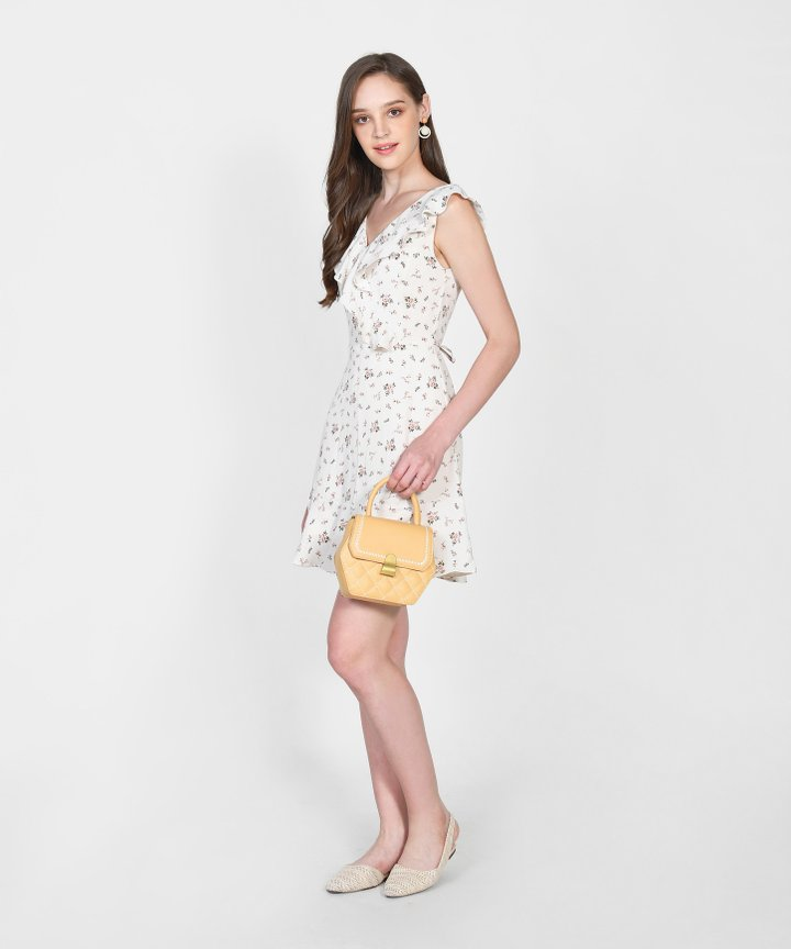 Freja Floral Ruffle Dress - Cream