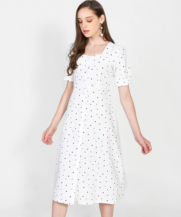 Paola Daisy Button Down Midi - White