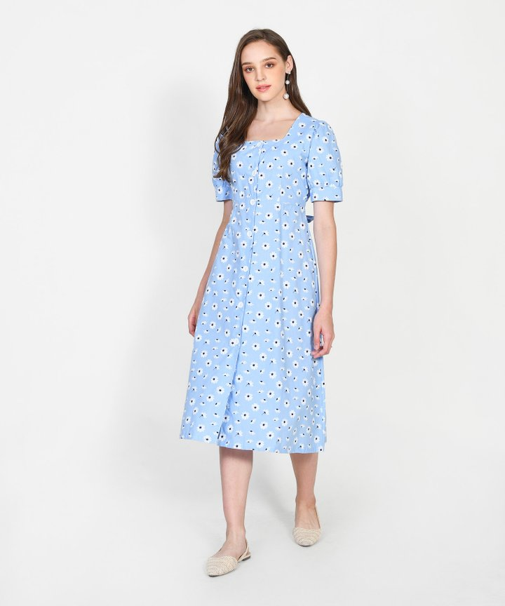Paola Daisy Button Down Midi - Sky Blue