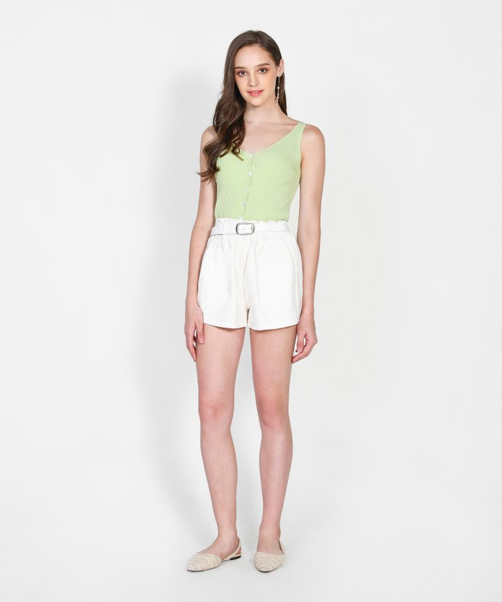 Brandis Belted Shorts - White