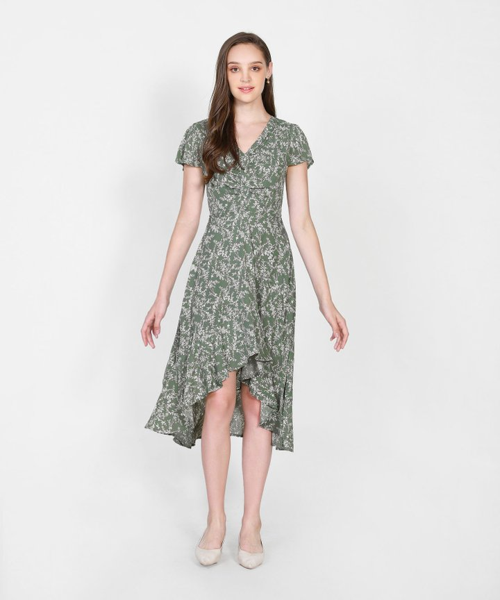 Cecile Floral Asymmetrical Dress - Dust Olive