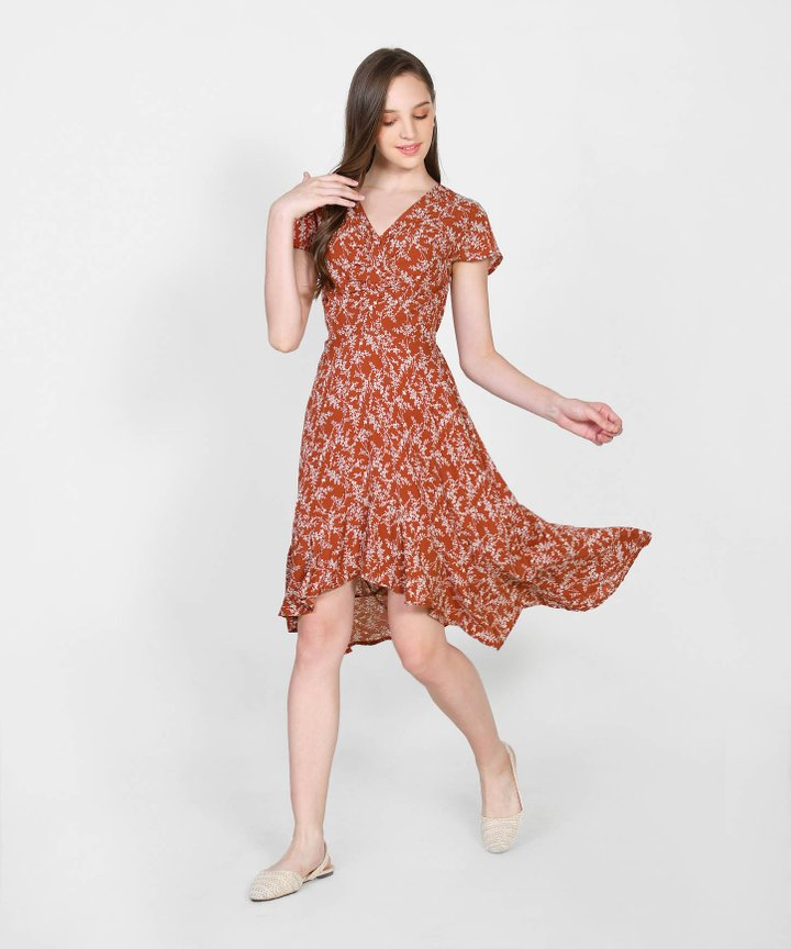Cecile Floral Asymmetrical Dress - Rust Red