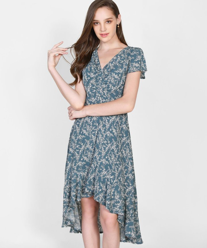 Cecile Floral Asymmetrical Dress - Teal Blue