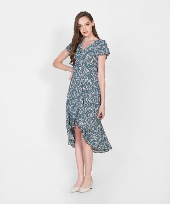 Cecile Floral Asymmetrical Dress - Teal Blue