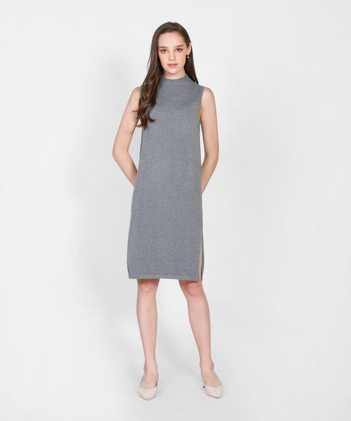 Elena Knit Midi Dress - Grey