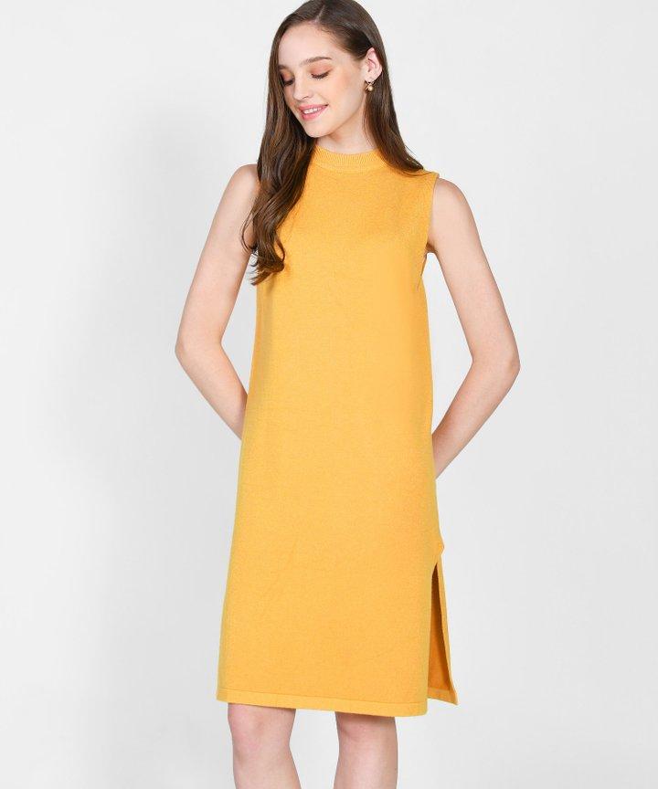 Elena Knit Midi Dress - Mustard