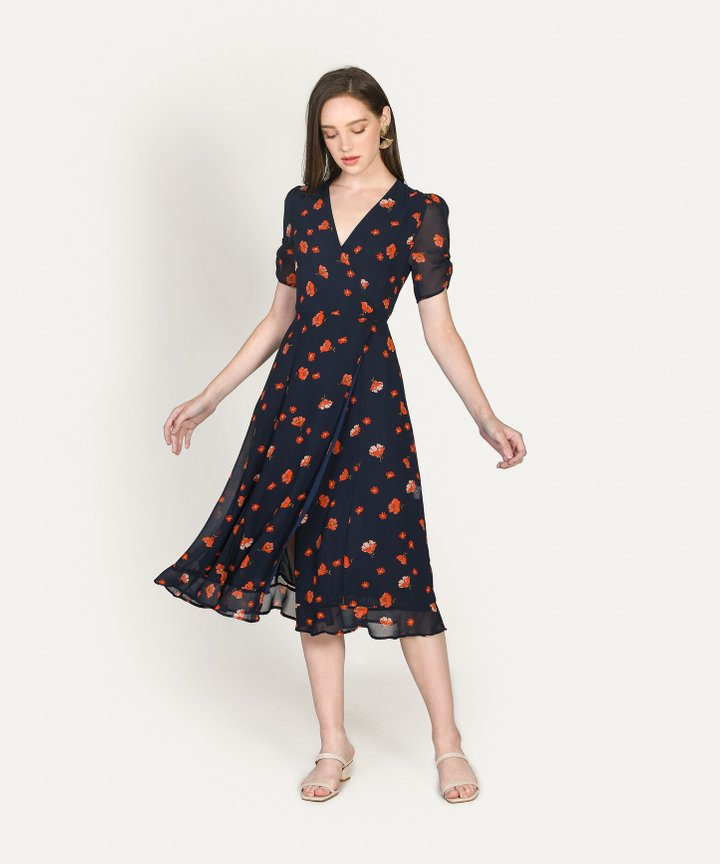 Emanne Floral Overlay Midi Dress (Backorder)