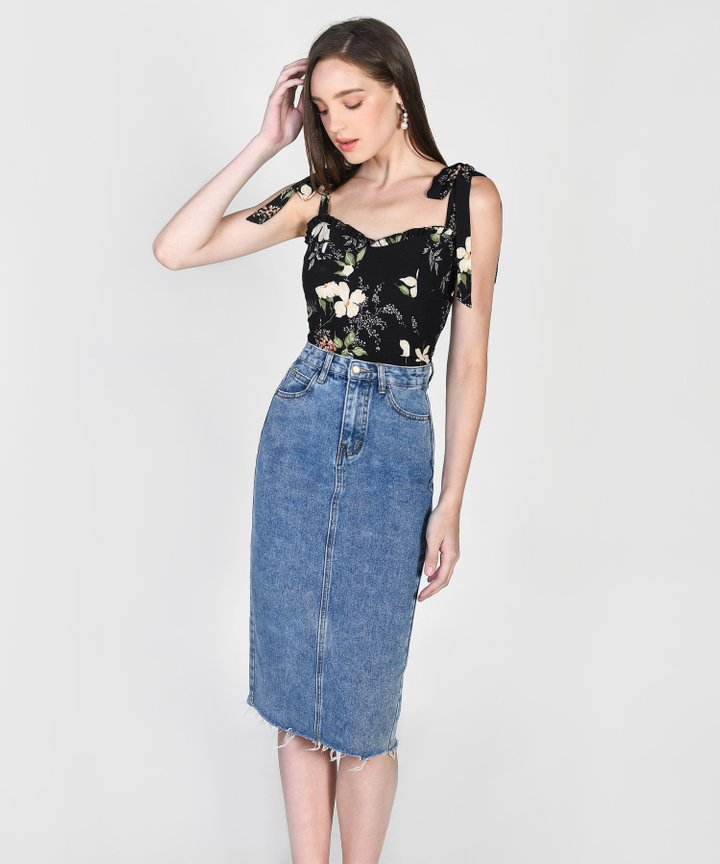 Pippa Denim Midi Skirt - Dark Blue