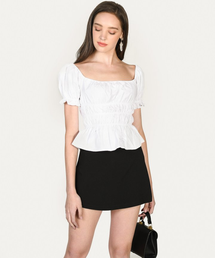 Halsey Smocked Top - White (Restock)