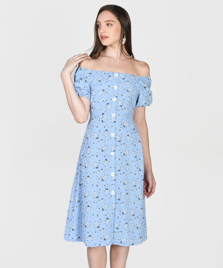 Hanneli Floral Off-Shoulder Midi Dress