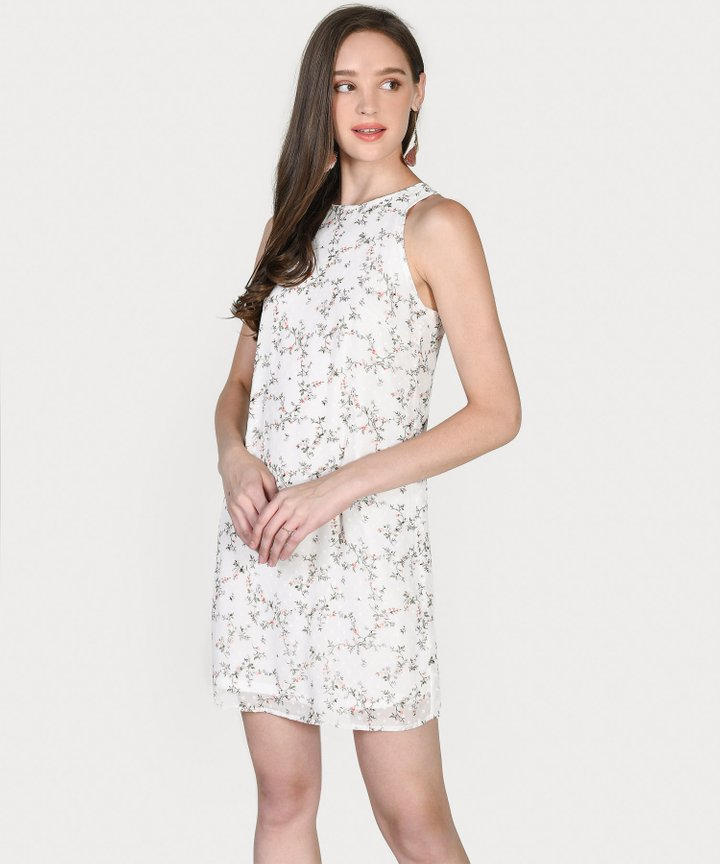 Haylen Floral Textured Shift Dress - White
