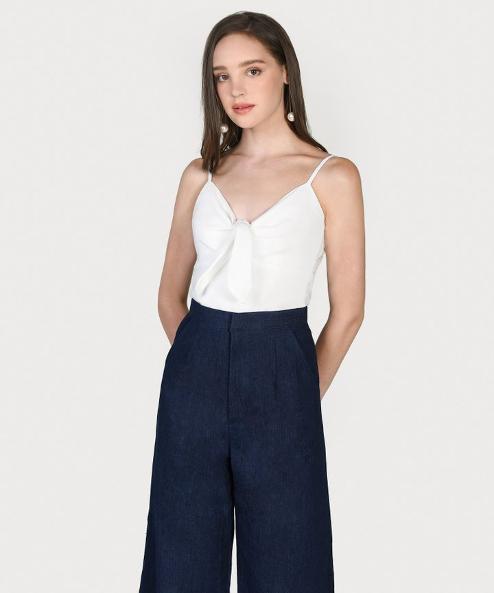 Maribou Tie-Front Top - White