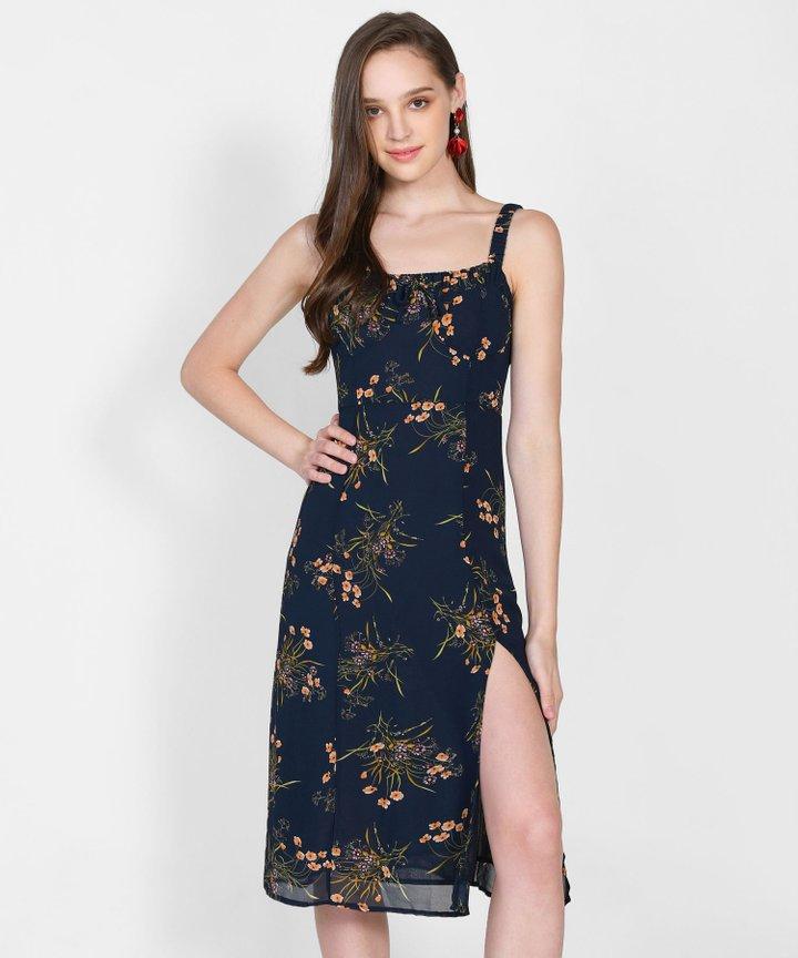 Mercedes Floral Slit Midi Dress (Backorder)