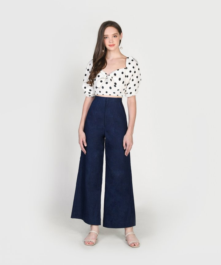 Stories Polka Cropped Top - Size S (Backorder)