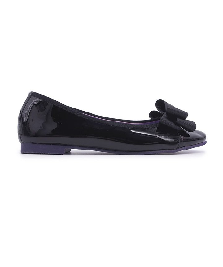Glossy Elegant Ribbon Flats - Black