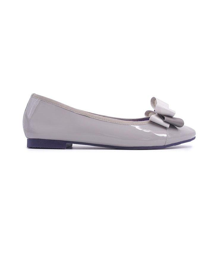 Glossy Elegant Ribbon Flats - Grey