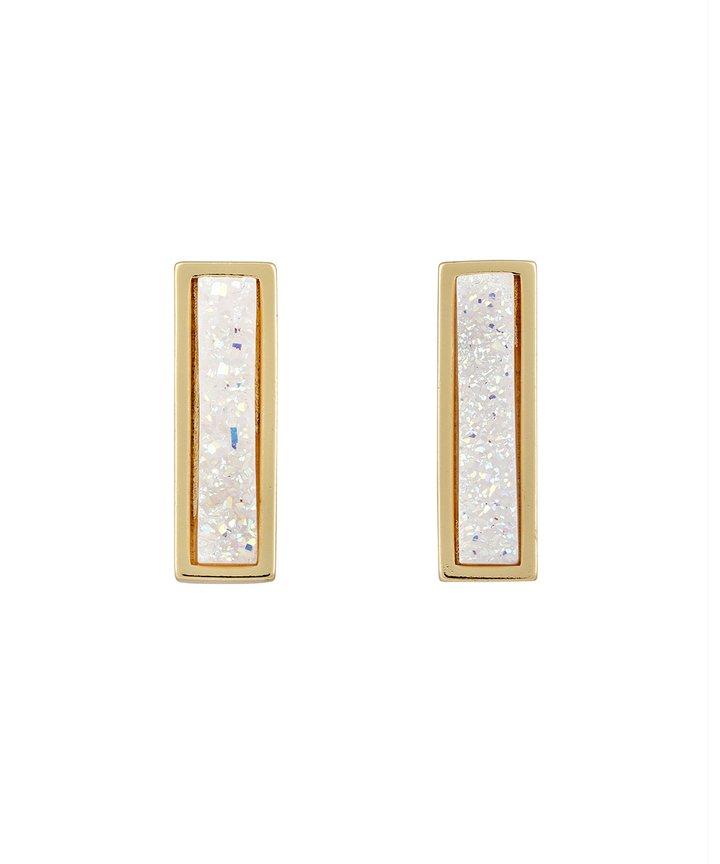 Druzy Line Earrings – Gold - White