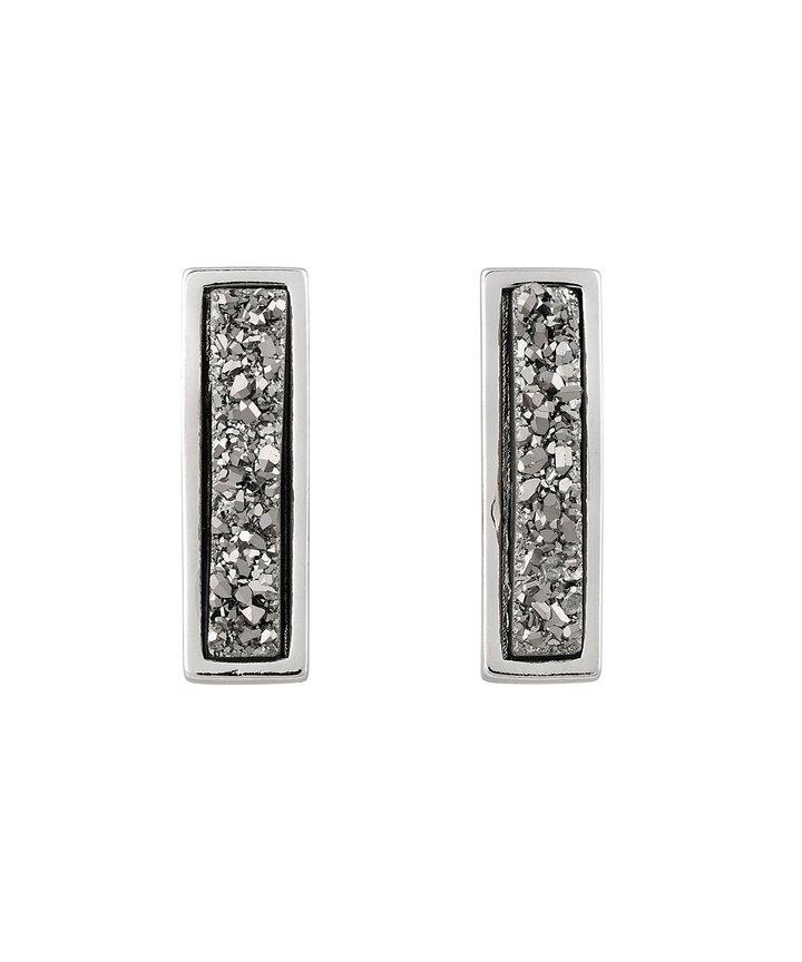 Druzy Line Earrings – Rhodium - Silver