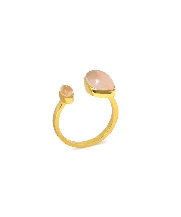 Gaea Duo Ring – Gold – Rose Quartz / Moonstone