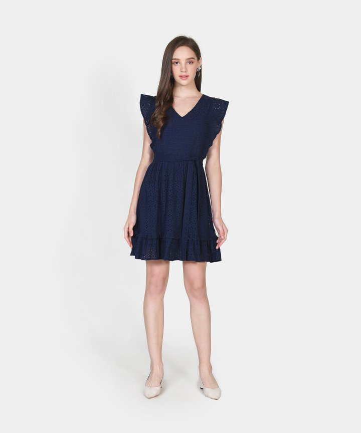 Annika Eyelet Dress - Navy