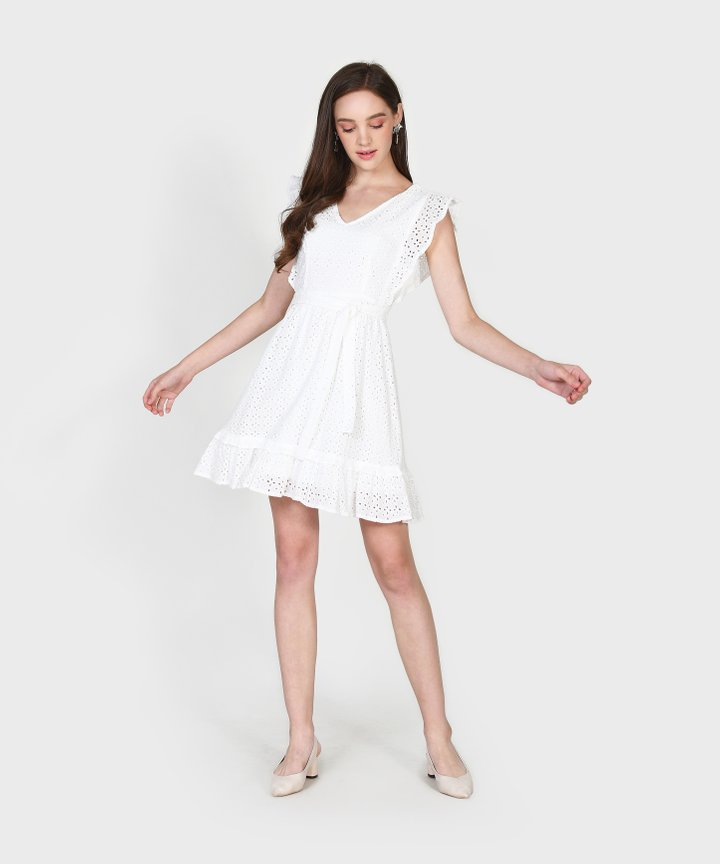 Annika Eyelet Dress - White