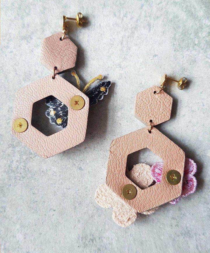 Butterfly Garden Asymmetrical Earrings - Taupe