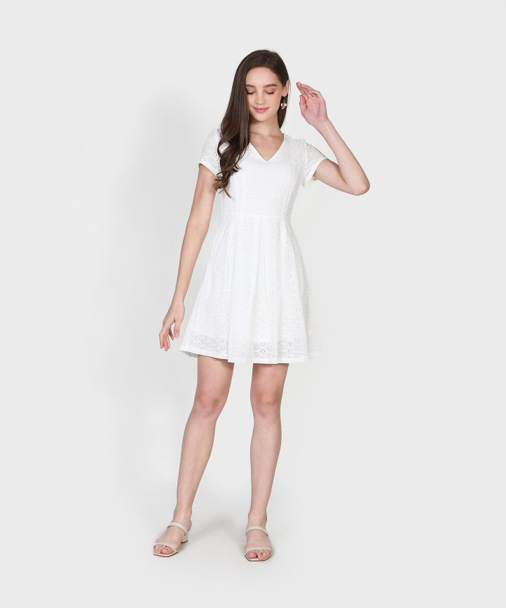 Carousel Eyelet Dress - White