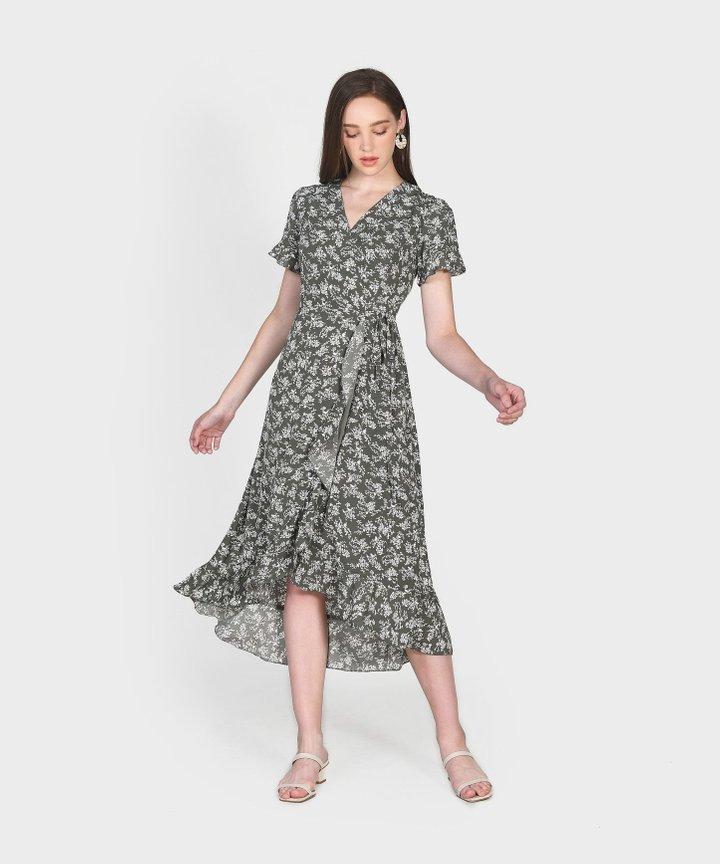 Charlotte Overlay Dress - Olive