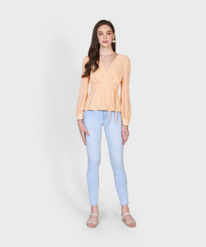 Cypress Peplum Blouse - Pale Peach