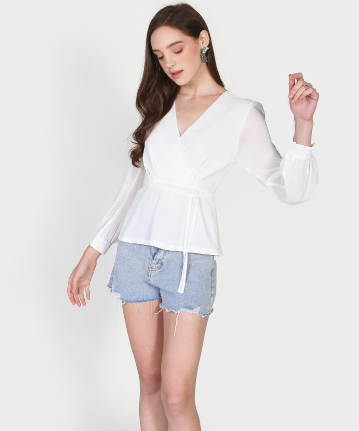 Cypress Peplum Blouse - White