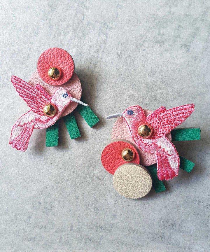 Hummingbird Asymmetrical Megastuds - Pink