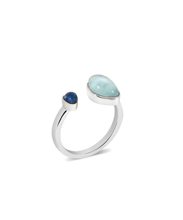 Gaea Duo Ring – Rhodium – Aquamarine / Blue Sapphire