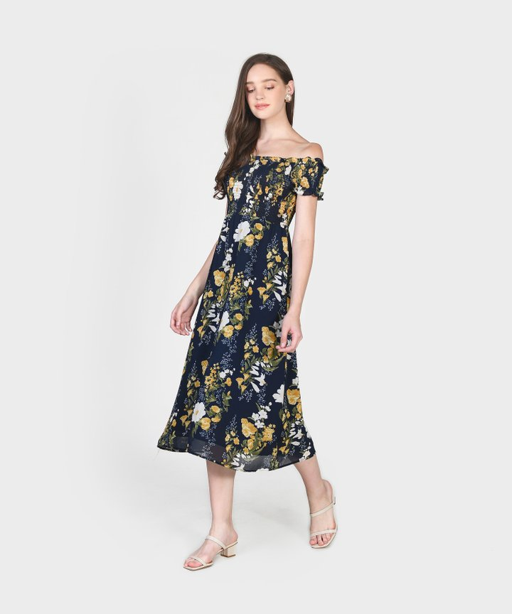 Papillon Floral Smocked Midi Dress (Restock)
