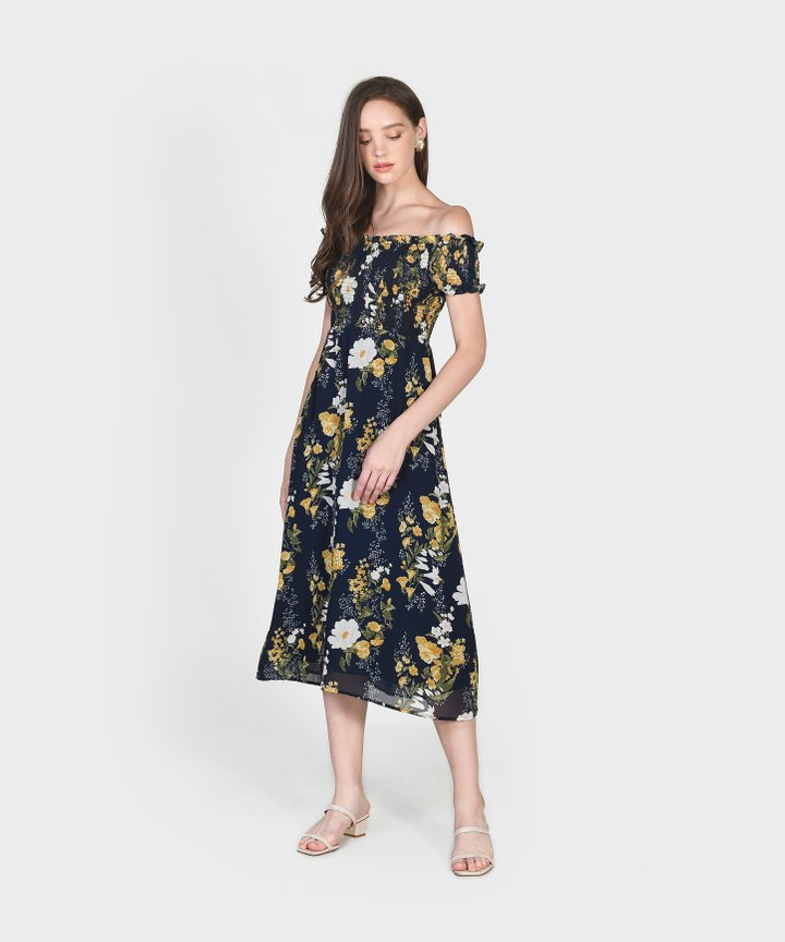 Papillon Floral Smocked Midi Dress (Backorder)