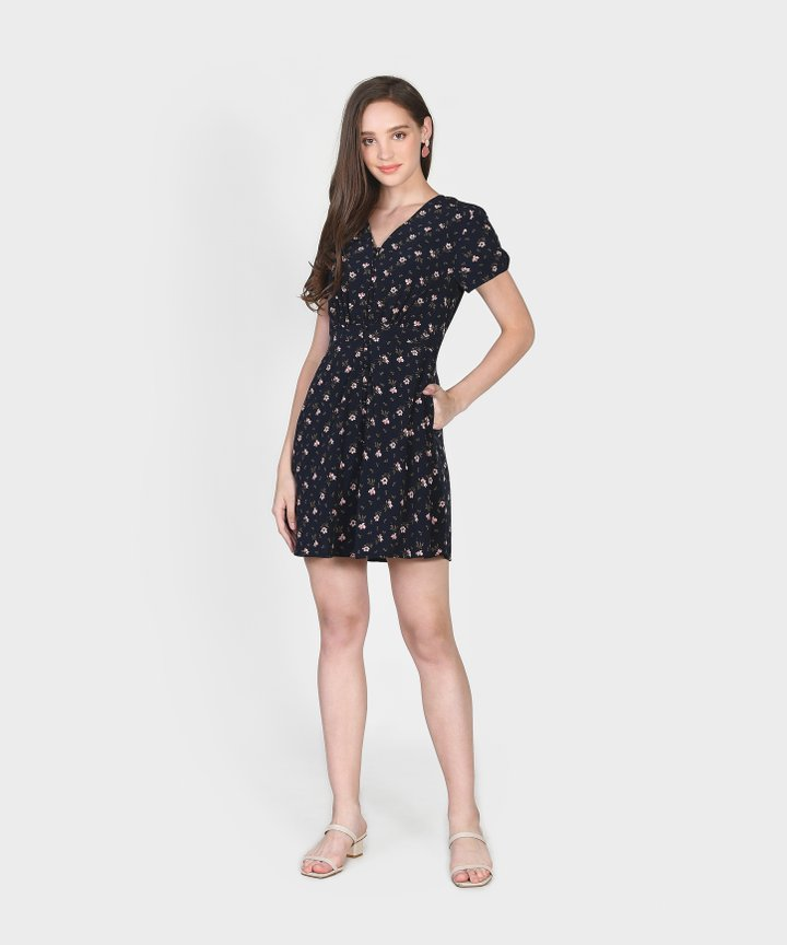 Primrose Floral Dress - Midnight Blue