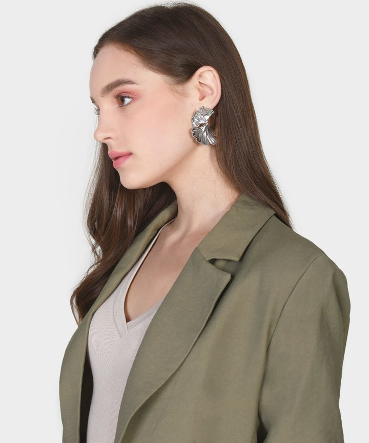 Panettiere Petal Statement Earrings - Silver