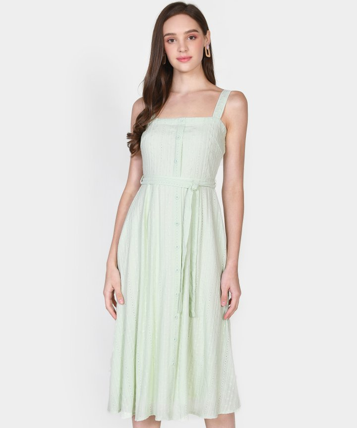 Trina Embroidered Midi Dress - Pale Mint