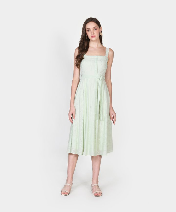 Trina Embroidered Midi - Pale Mint
