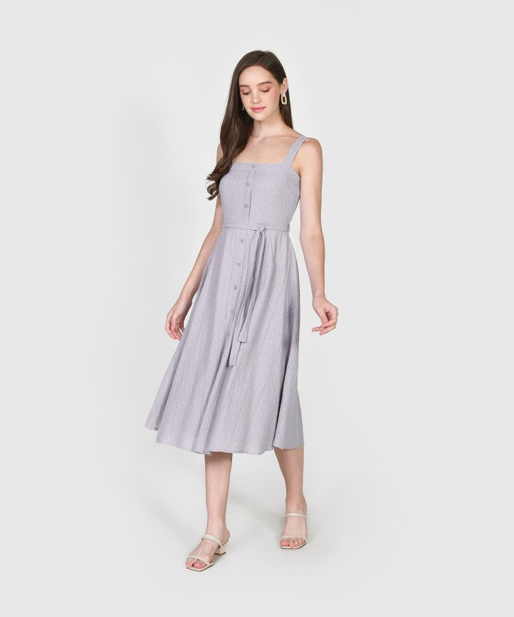 Trina Embroidered Midi - Pale Periwinkle