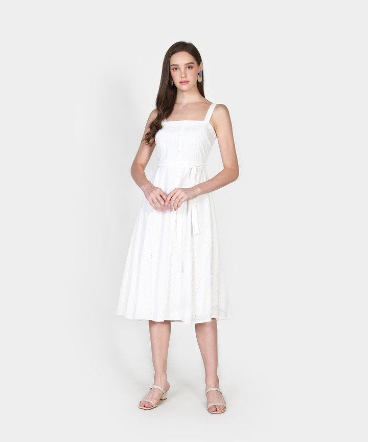 Trina Embroidered Midi Dress - White