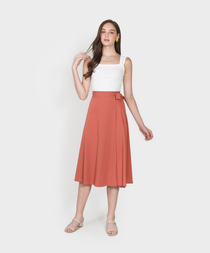 Arbery Midi Skirt - Coral Red